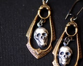 Lola Earrings - Victorian Ornate Gothic Skull Stampings - Insurance Included