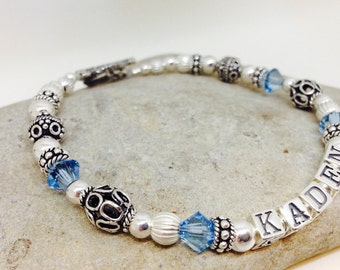 Gift for Wife, Mother Name Bracelet, Personalized, Sterling Silver, Swarovski Crystal, Birthstones, Beaded, Mother's Day Gift, New Baby