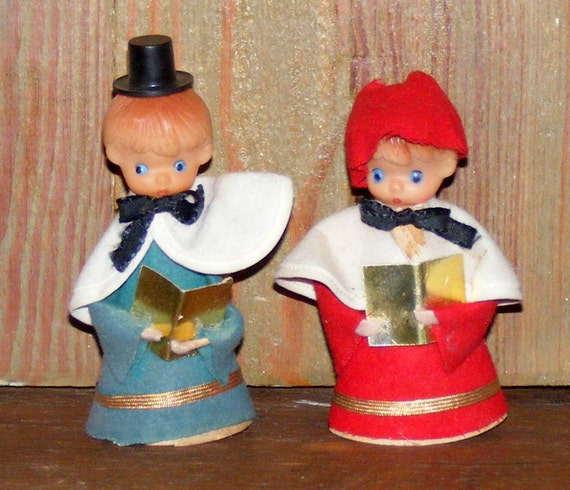 Vintage Christmas Decoration Caroler Girl And Boy By