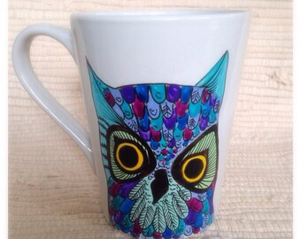 Hand painted owl mug