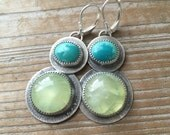 Turquoise and Prehnite silversmith earrings