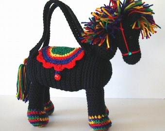 Pony Horse Purse Crochet Black with Rainbow Mane Tail for Girls