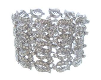 Wide ORA Designer Bracelet, Wide Rhinestone Cuff, Bridal Jewelry, 1940s Statement Wedding Jewelry, Vintage Jewellery
