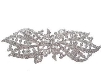 Antique Belt Buckle, Art Deco Vintage Belt Buckle, 1920s Fine Rhinestone Jewelry, Wedding Jewelry, Vintage Bridal Accessories