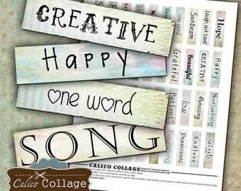 Printable, Matchstick Images, Words Collage Sheet, Altered Art Words, Digital, Collage Sheet, Digital Sheet, Printable Downloads