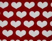 Red hearts knit 1 yard cotton lycra knit USA made