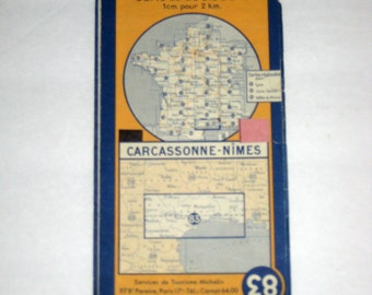 Vintage (1950) Michelin French Map - Carcassonne-Nimes -  France