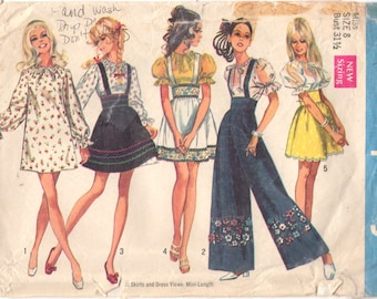 Simplicity 8208 1960s Misses Mini Dress Suspender Skirt Wide Leg Pants Pattern Womens Vintage Sewing Pattern Size Size 8 Bust 31