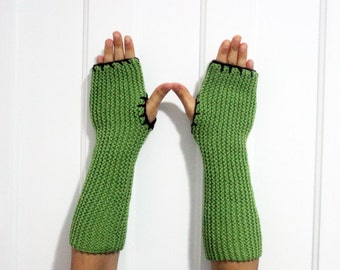 Long Fingerless Gloves / Armwarmers [Green & Brown]