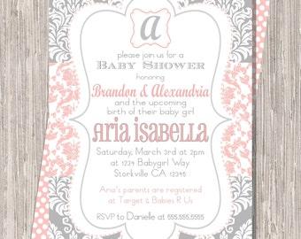 Baby Girl Shower Invitation, Pink & Gray Damask 5x7 printable