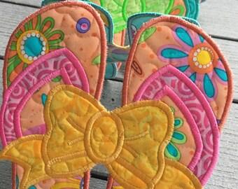 Quilted FLIP FLOP Table Runner . . . Appliqué Flip Flops . . . Colorful Summer Fabrics  . . . Unique Table Decor