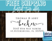 Custom Return Address Stamp - Custom Calligraphy Stamp - Handwriting Script - Personalized SELF INKING Wedding Stationery Stamper - (177)