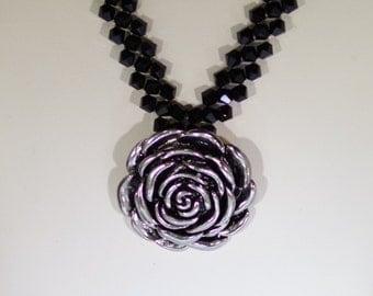 Swarovski Crystal Jewelry - Jet with Silver Rose Pendant Necklace