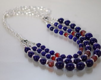 Gemstone and Cathedral Crystal Necklace - Dark Blue Howlite Lapis