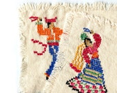 Embroidered Placemats Ecru Coarse Linen Spanish Dancer Bullfighter His and Hers Set of 2 Cross Stitch Hand Embroidered Vintage Cottage Decor