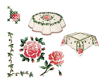 1960s Roses Tablecloth Embroidery Transfer and Pattern McCalls 7477 Round or Square Cross Stitch Border and Center Trellis Vine Rosebud