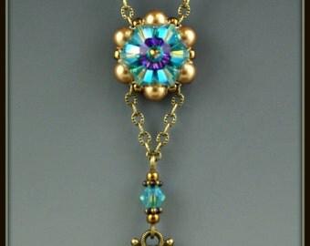 Beaded, Beadwork, Bead-woven, Crystal Flower Necklace