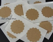 "25 Craft stickers, 2"" stickers, Scallop labels, Craft seals, Paper stickers, Mason jar stickers, Scalloped Circle Stickers"