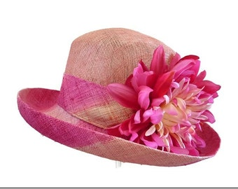 """Women's Straw Hat, Spring Fashion Race Day Hat, Garden and Tea Party Hat in Fuchsia Pink and Yellow - """"Pink Sunshine"""""""