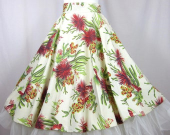 Vintage 40s Full Circle Cotton Skirt, Southwest Print, Sz S / M
