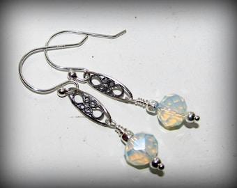Petite Moonstone Vintage Style Filigree Gemstone Earrings on Sterling Silver Earrings, Good Fortune