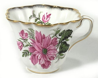 Vintage Rosina Tea Cup, Large Pink Flower, Scalloped Rim, Fluted Sides, Bone China, Made in England