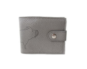 leather billfold wallet grey pig folding coin wallet