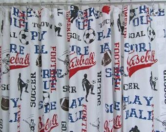 Sports Theme Shower Curtain, Boy's Shower Curtain, Soccer Baseball Bathroom Accessories, Red Blue Bathroom Decor, Custom Shower Curtain
