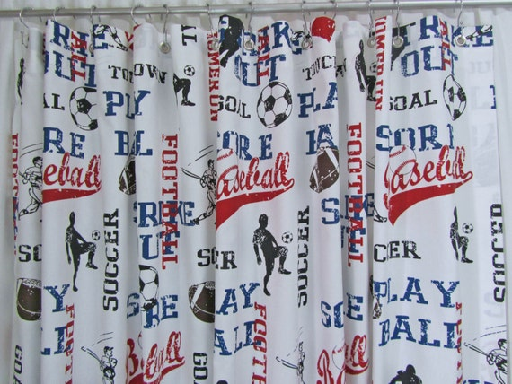 Sports themed shower curtain