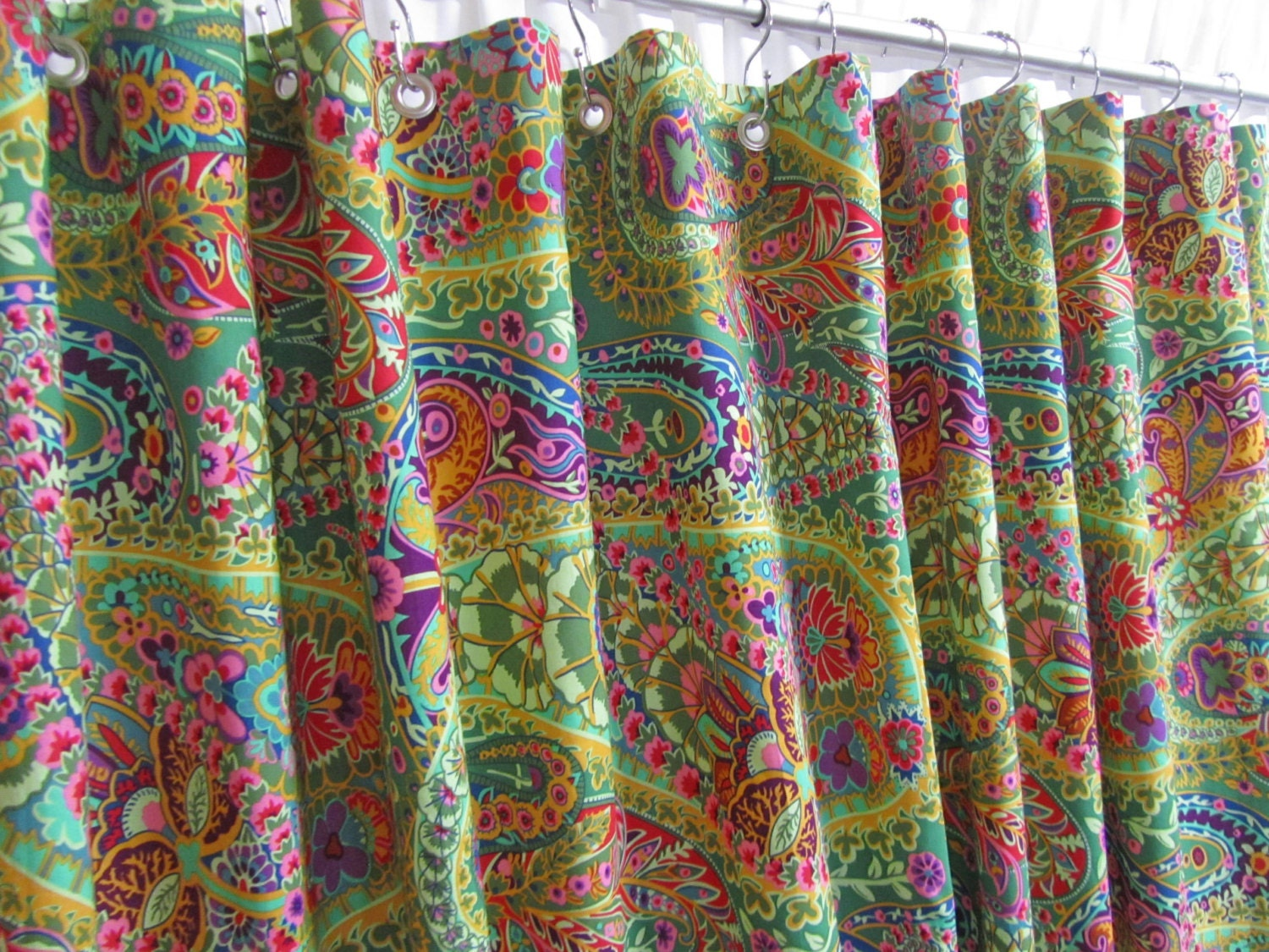 Colorful shower curtains - Mint Green Shower Curtains Bohemian Shower Curtain Bright Green Bathroom Decor Boho Bathroom Shower Curtain