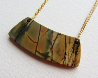 Jasper Double Drilled Swing Necklace with Gold Filled Wire