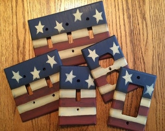 Primitive American Flag Switch Plate Covers
