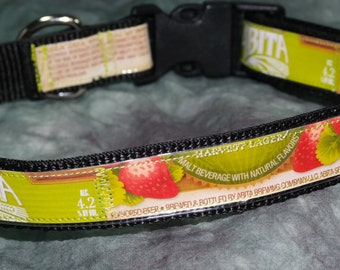 Adjustable Dog Collar from recycled Abita Strawberry Harvest Beer Labels