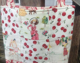 Shoulder strap handbag quilted cherry red retro 1950s housewife fabric Michael Miller quiltsy handmade