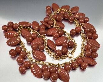 Vintage Charm Necklace, Art Deco Necklace, Czech Glass Necklace, Brown Glass Bead Necklace, Statement Necklace, 1930s Necklace