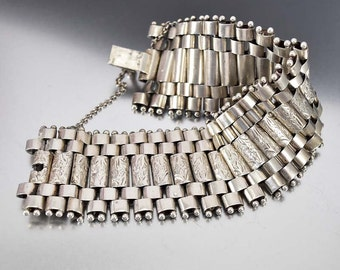 Antique Sterling Silver Victorian Bracelet, Book Chain Bracelet, Engraved Gate Bracelet, Wide Silver Link Bohemian Bracelet, Antique Jewelry