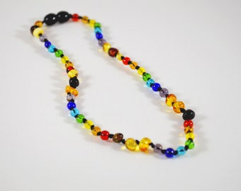 """12"""" Youth Polished Baltic Amber and Rainbow Glass bead Necklace"""