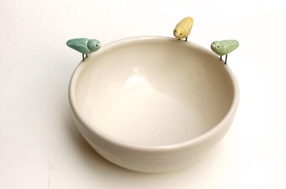 bird bowl, porcelain