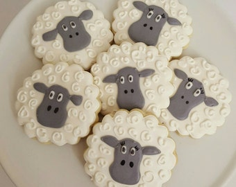 Grey wooly sheep sugar cookies - 1 dozen - baby shower  - nursery rhymes - grey and white cookies