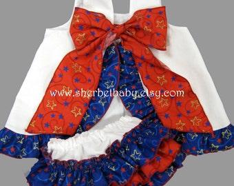 Patriotic Red White Blue Pinafore & Bloomer Set Ruffled Sundress