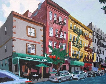 The Bronx Arthur Avenue NYC Art Wall Decor Fine Art Print, Italian Belmont Section,  Little Italy New York City Painting by Gwen Meyerson