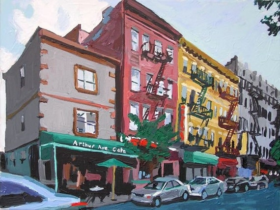 The Bronx Arthur Avenue NYC Art Wall Decor Fine Art Print, Italian Belmont Section,  Little Italy New York City Painting by Gwen Meyerson
