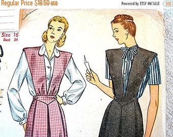 Sewing Pattern SALE 1940s Maternity Dress Pattern Misses size 16 UNCUT Womens Maternity Jumper with Blouse Vintage Sewing Pattern 40s