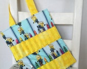 Minions Crayon Bag Children Accessories Coloring Tote Crayons Toddler Birthday Gift Disney Pixar Despicable Me Kids Travel Tote
