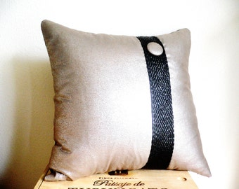 Pillow...Modern Pillow with Button...Decorative Throw Pillow...Hand Made Pillow Case...Silver And Copper Natural Fabrics...Braided Detail