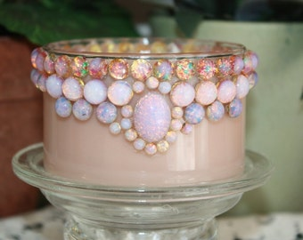 CuSToM Designed Soy Wax Embellished Candle, Vintage Glass Fire Opal Cabochons, Homemade, YOUR SCENT CHOICE, Hand Poured in Glass Candle Bowl