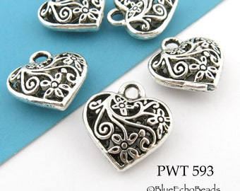 Heart Charm Beads Pewter Hollow Heart Floral Pattern 20mm Heart (PWT 593) 3 pcs BlueEchoBeads