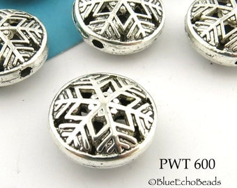 17mm Pewter Star Hollow Coin Beads Antique Silver (PWT 600) 4 pcs BlueEchoBeads