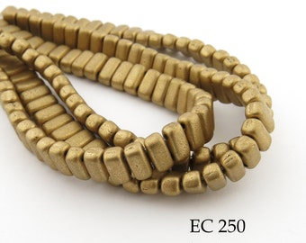 6mm CzechMates 2 Hole Matte Metallic Flax Gold Brick Beads 3x6mm (EC 250) 50 pcs BlueEchoBeads