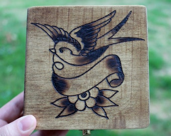 Wood burned trinket box | Personalized and custom wood burned box with sparrow tattoo design | Great for jewelry box or keepsake box!